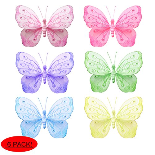 """Butterfly Decorations Large 13"""" Shimmer Nylon Hanging Mesh Butterflies 6 Piece Set Decorate Baby Nursery Bedroom Girls Room Ceiling Wall Decor Wedding Birthday Party Baby Shower Bathroom Child 3D Art"""