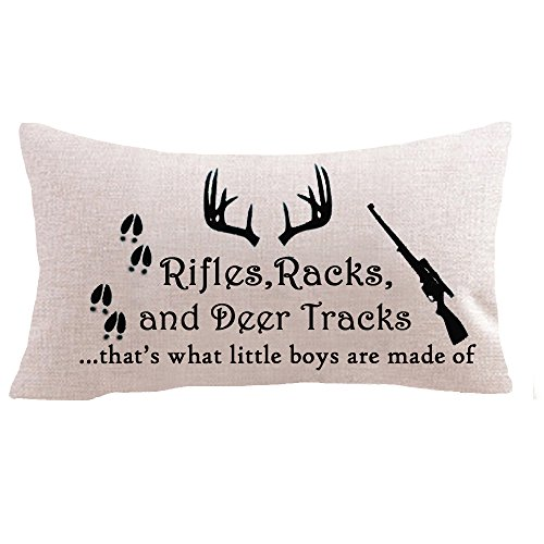 Rifles racks and deer tracks that little baby made of Animal footprints Cotton Linen Square Throw Waist Pillow Case Decorative Cushion Cover Pillowcase Sofa 12