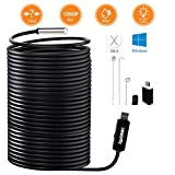 IWOBAC USB Endoscope, 2.0 Megapixels HD 8.5mm Waterproof Borescope Inspection Camera with 6 Adjustable LED Lights for Windows PC MacBook Laptop (15m/50ft)