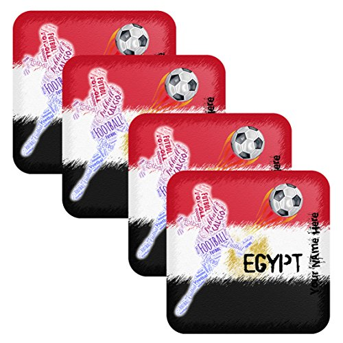 Azty Designs Set 4 Personalized Custom Coaster Futbol Soccer World Cup Teams Distressed Style Your Name Egypt