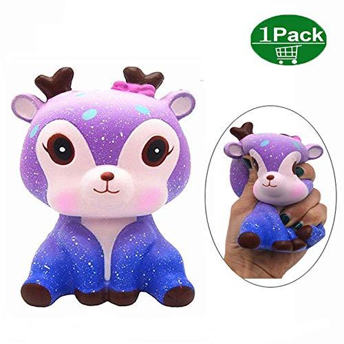 Jouet de décompression Licorne Galaxy Cerf Squishy Kawaii Stress Reliever Slow Rising Soft Parfumée Squeeze Squishy Jouet Cadeau pour Les Enfants et Les Adultes YIKEF Squishy Toys