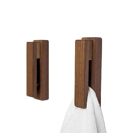 Porta Asciugamani In Legno.Jinmury Moderna Porta Asciugamani In Legno Set Di 2 Adesivi Asciugamano Gancio Da Parete In Legno Home Decor Durevole Facile Installazione Ferma