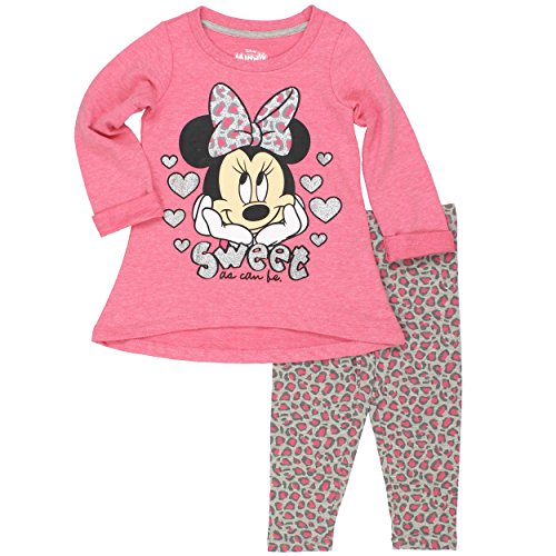 Disney Girls' Minnie Mouse 2-Piece Legging Set, Heathered Pink, 12 Months (Minnie Outfit)