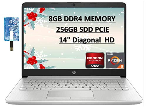 2020 HP Newest Business Laptop, 14″ HD Screen, AMD Ryzen 3-3250U Processor up to 3.5GHz, 8GB DDR4, 256GB SSD Zoom Meeting, Windows 10 Home with E.S Holiday32GB USB Card