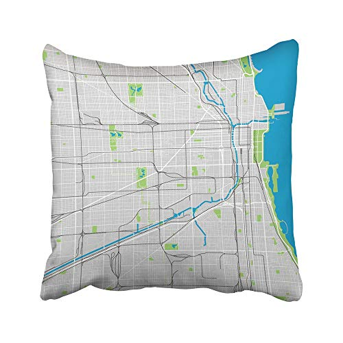 Emvency Decorative Throw Pillow Covers Cases Street Chicago Map Ultra Detailed Area City River Neighborhood Park Michigan Skyline 20X20 Inches Pillowcases Case Cover Cushion Two Sided