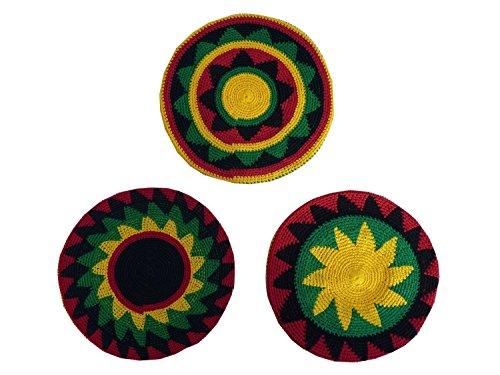 INSPIRIT ARTS TAM BERET Regular Size Hand Made Crochet Knit Slouchy Dread Loc Locks Rasta Reggae (Rasta Beret)