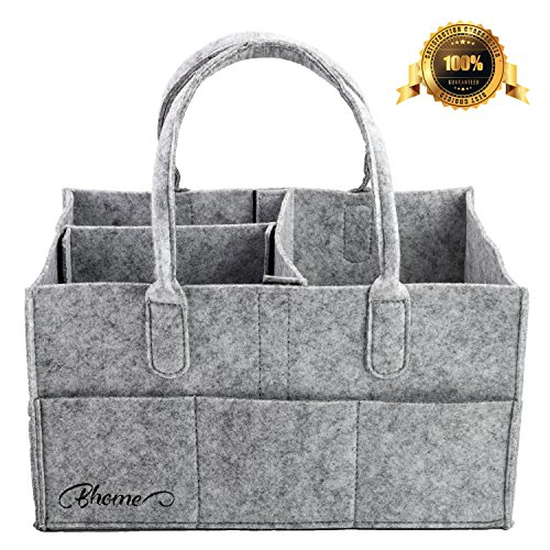 Baby Diaper Caddy - Bhome Portable Diaper Storage Caddy Organizer with Changeable Compartments, Nursery Storage Bin and Car for Diapers and Baby Wipes, Nappy Bags for Mom, Toys for Child, Large, Grey (Diaper Gift Baskets)