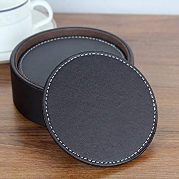 3.94 10cm CARLWAY Set of 6 Leather Drink Coasters Round Cup Mat Pad for Home and Kitchen Use Black