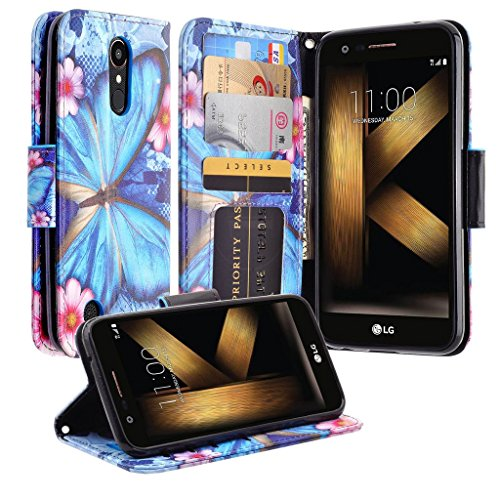 Coolpad Legacy Case (Not Go Version) Leather Flip Pouch Wallet Case Cover Folio [Kickstand] Cute Girls Women Phone Case Compatible for Coolpad Legacy Case 6.4inch - Blue Butterfly (Boost Mobile Cases)