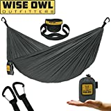 Wise Owl Outfitters Ultralight Camping Hammock With Tree Straps - Feather light Lightweight Compact Durable Ripstop Parachute Nylon Hammocks - Best for Outdoor Travel Backpacking Hiking - Grey