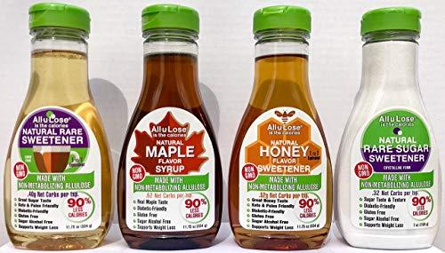 All-u-Lose (Variety Pack of 4) 1ea, Maple 11.75 oz, Crystalline 7 oz, Honey 11.75 oz & Natural Liquid 11.75 oz Natural Rare Sugar Sweeteners, Non-GMO Allulose,