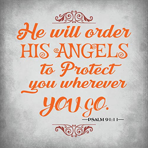 Aluminum Metal Sign Guidance He Will Order Angels to Protect You Wherever You go. Psalm 91:11 Novelty Square Wall Art - Light Grey, 12