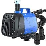 ZMLM Submersible Aquarium Fountain Water Pump with Amphibious Anti-Dry Protection, 6.56ft High Lift for Fish Tank, Pond, Aquarium, Statuary, Hydroponics Pump (550GPH / 40W)