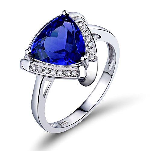 Lanmi 14K White Gold Natural Blue Tanzanite Diamonds Rings Band Engagement Wedding for Women