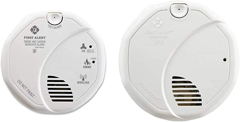 First Alert Battery Operated Combination Smoke and Carbon Monoxide Alarm with Voice Location & BRK 3120B Hardwired Smoke Detector with Photoelectric Sensor and Ionized Alarm with Battery Backup