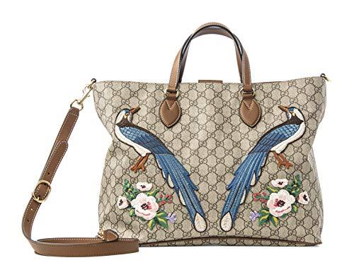 Gucci GG Supreme Peacock Brown Tote Leather Floral Bag Bird Handbag Ebony New
