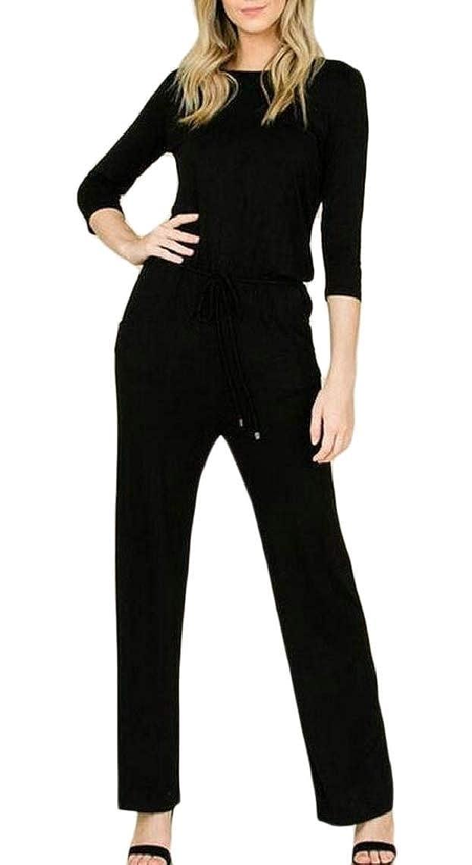 Jmwss QD Womens Casual 3//4 Sleeve Loose Jumpsuit Romper