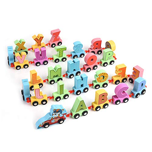 XREXS 27pcs Letter Train Wooden Alphabet Railway, Letter Alphabet Train,ABC Train Floor Puzzles,Wood Letter Train Set for Preschool Kids Toddler Educational Toy