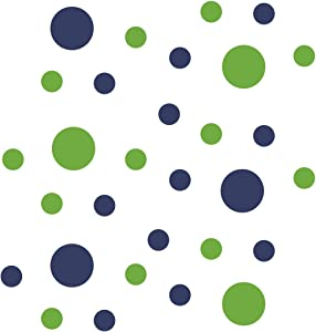 Lime Green/Navy Blue Vinyl Wall Stickers - 2 & 4 inch Circles (30 Decals)