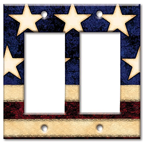 - Art Plates brand - Double Gang Rocker Switch/Wall Plate - Old Flag