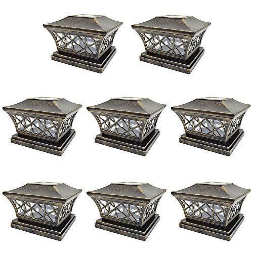iGlow 8 Pack Vintage Bronze 6 x 6 Solar Post Light SMD LED Deck Cap Square Fence Outdoor Garden Landscape PVC Vinyl Wood
