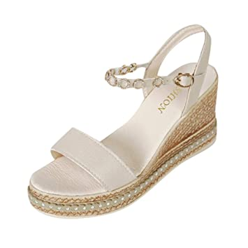 Roman Women Flatform Espadrille Sandals Wedge Low Heel Ankle Shoes Size US 5-8.5