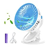 Battery Operated Fan, OCUBE Mini Clip on and Desk Fan, Personal Portable Fan with 3 Speeds, USB or Rechargeable 2000mAh Battery Powered Cooling Fan for Baby Stroller,Car,Office, Outdoor Activity(Blue)