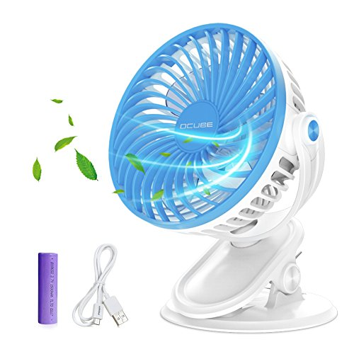 Battery Operated Fan, OCUBE Mini Clip on and Desk Fan, Personal Portable Fan with 3 Speeds, USB or Rechargeable 2000mAh Battery Powered Cooling Fan for Baby Stroller,Car,Office, Outdoor Activity(Blue) by OCUBE