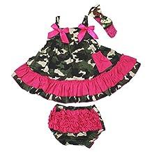 Petitebella Hot Pink Camouflage Swing Top Bloomer Set Baby Girl Clothing Nb-24m (1-2year)