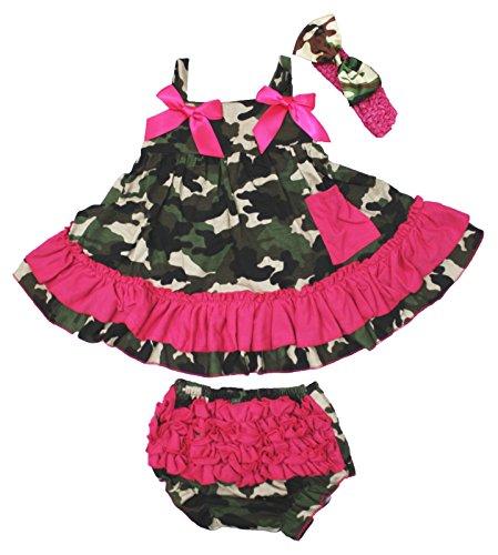Petitebella Hot Pink Camouflage Halter Swing Top Bloomer Set Nb-24m ()