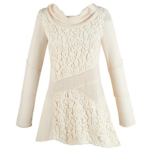 Women's Cream Tunic Sweater - Lace Cowl Neck Asymmetrical Top - Small