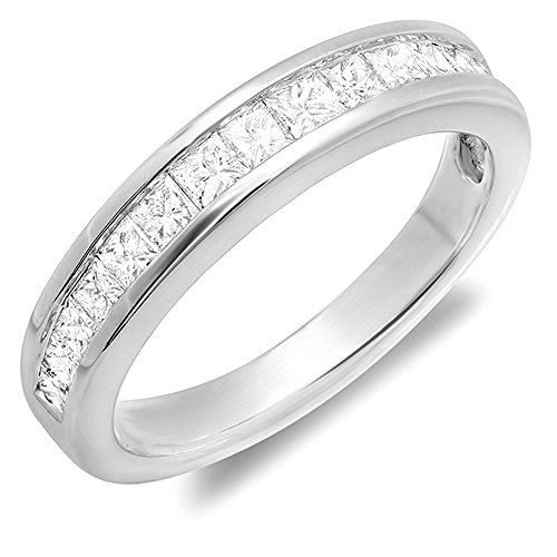 0.75 Carat (ctw) 14K White Gold Princess White Diamond Wedding Invisible Set Band 3/4 CT (Size 6) 0.75 Ct Invisible Set