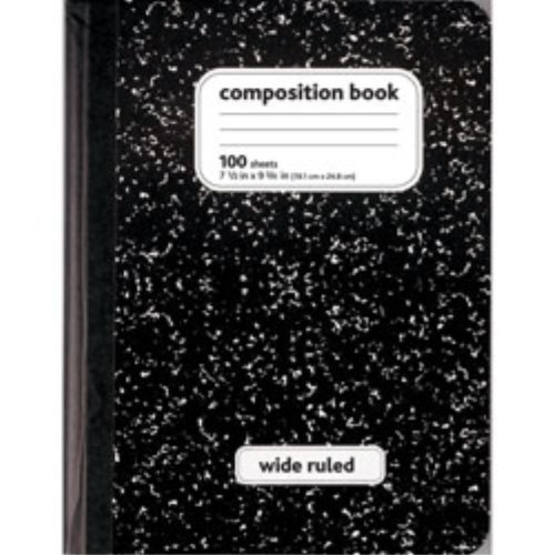 Norcom Colored Marble Composition Book, Wide Ruled, 100 S...