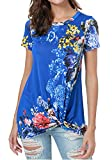 Simier Fariry Womens Summer Short Sleeve Floral Print Knot Front Blouse T Shirt Blue L
