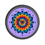 CafePress – Rainbow Mandala Tie-dye Wall Clock – Unique Decorative 10″ Wall Clock For Sale