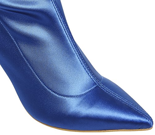 Boots Blue Stretch Over Kiss The And Knee Tell Office Satin 7Ita0q8xww