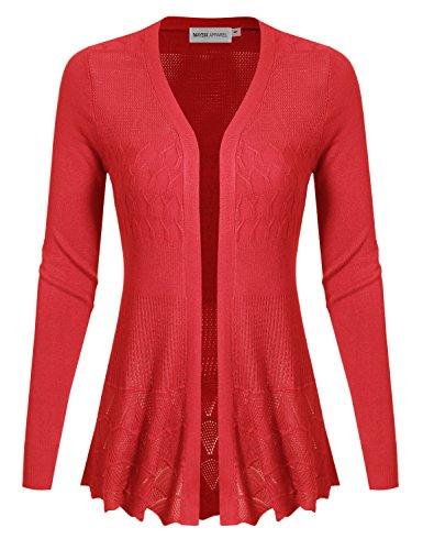 - MAYSIX APPAREL Long Sleeve Lightweight Crochet Knit Sweater Open Front Cardigan For Women FUCHSIA M