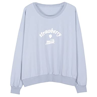 d5f9a4ef3 Women Harajuku Fashion Strawberry Milk Letter Printed Kawaii Sweatshirt,  Blue at Amazon Women's Clothing store: