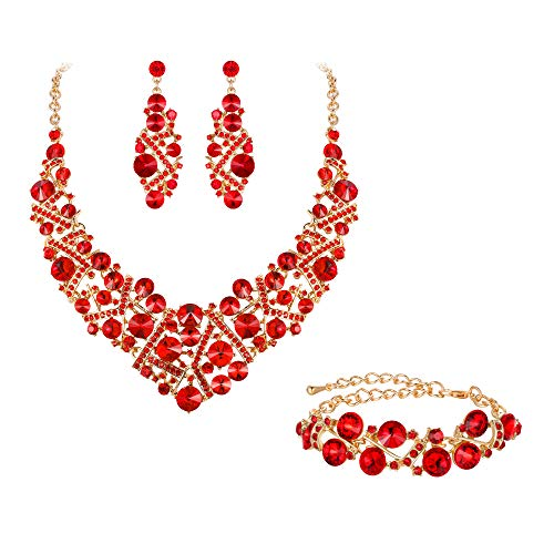 Flyonce Women's Austrian Crystal Wedding Luxury Floral Filigree Necklace Earrings Set Red Gold-Tone -