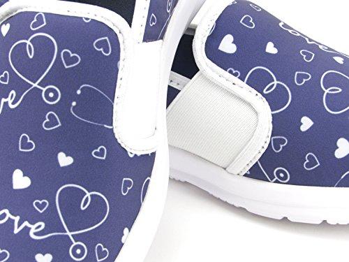 Sunny Women's Cute Memory Foam Elastic Gore Nursing Shoes - Printed - Florence (10, Stetho Love Blue) by Keep Nursing (Image #6)