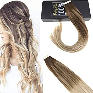 Amazon Com Sunny 16 Inch 20pcs Hair Extensions Tape In Real Human