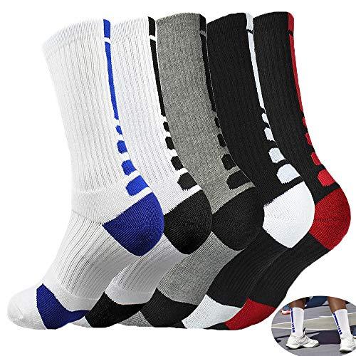 - 5 Pairs Basketball Socks,MENMA 5 Packs Dri-fit Basketball Socks, Athletic Crew Socks for Youth Boys Girls Men Women