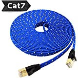 Nylon Cat 7 Ethernet Cable 30Ft, Tanbin Cat7 RJ45 Network Patch Cable Flat 10 Gigabit 600Mhz Lan Wire Cable Cord Shielded for Modem, Router, PC, Mac, Laptop, PS2, PS3, PS4, XBox 360 Blue