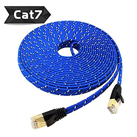 Nylon Cat 7 Ethernet Cable 25Ft, Tanbin Cat7 RJ45 Network Patch Cable Flat 10 Gigabit 600Mhz Lan Wire Cable Cord Shielded for Modem, Router, PC, Mac, Laptop, PS2, PS3, PS4, XBox 360 - 25' Pink Cat5e Patch