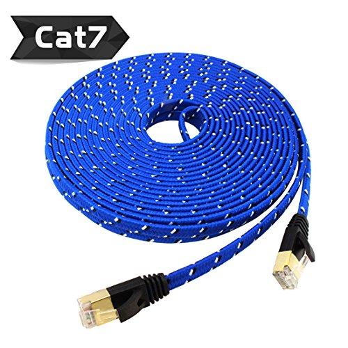 Nylon Cat 7 Ethernet Cable 25Ft, Tanbin Cat7 RJ45 Network Patch Cable Flat 10 Gigabit 600Mhz LAN Wire Cable Cord Shielded for Modem, Router, PC, Mac, Laptop, PS2, PS3, PS4, Xbox 360 Blue