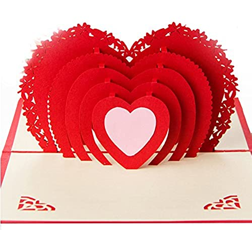 3D Pop Up Red Heart Greeting Cards. Thank You, Gift, Love, Valentine, Invitation, Wedding etc. Cards from Love Sales