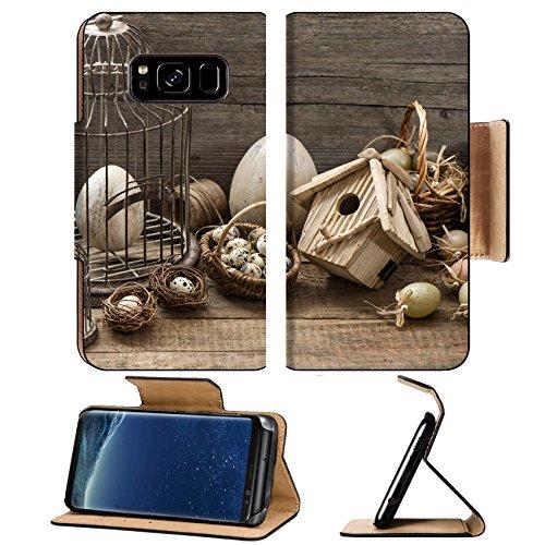 MSD Premium Samsung Galaxy S8 Plus Flip Pu Leather Wallet Case vintage easter decoration eggs birdhouse birdcage nostalgic still life home interior IMAGE 19745823