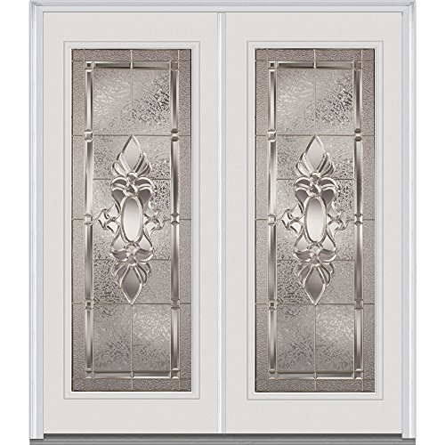 National Door Company Z016271L Fiberglass Inswing Double Entry Door, Left Hand Prehung, Heirloom Master Decorative Glass, Full Lite, 64