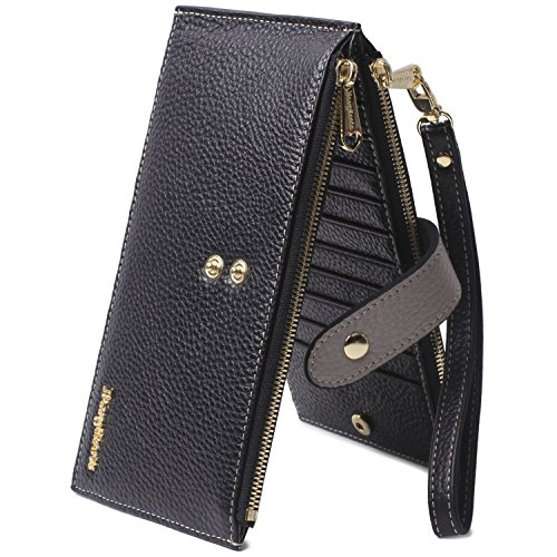 Genuine Leather Wallet Wristlet for Women Credit Card Holder Wallets Zipper Purse with RFID Blocking