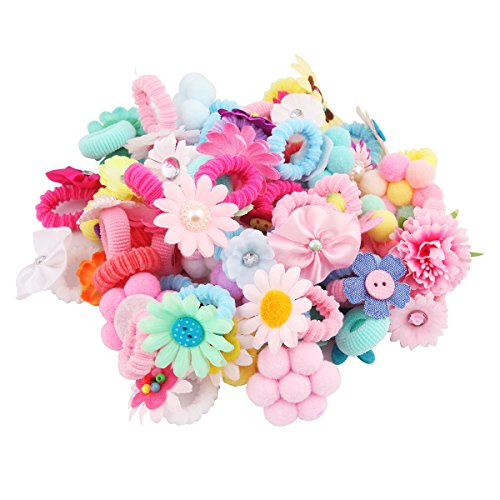 (Candygirl 50 Pcs Girls Bow Elastic Ties,Ponytail Holders,Hair Bands,Hair Elastics,Value Set (50PCS flower))